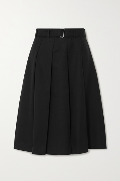 Officine Generale - Kendall Belted Pleated Wool Skirt - Black