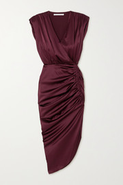 Veronica Beard Casela wrap-effect ruched stretch-silk midi dress