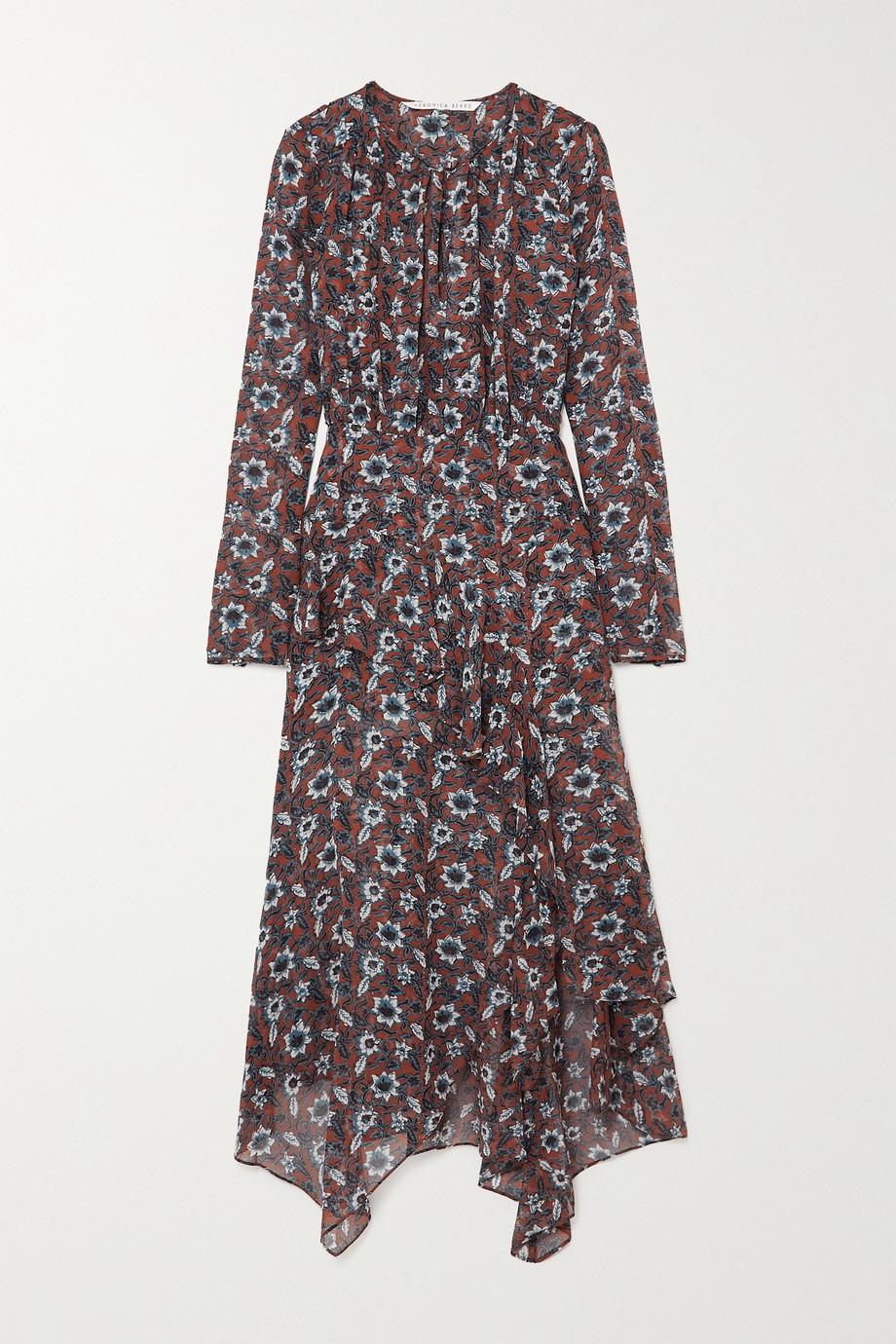 Veronica Beard Sazan asymmetric ruffled floral-print silk-chiffon midi dress