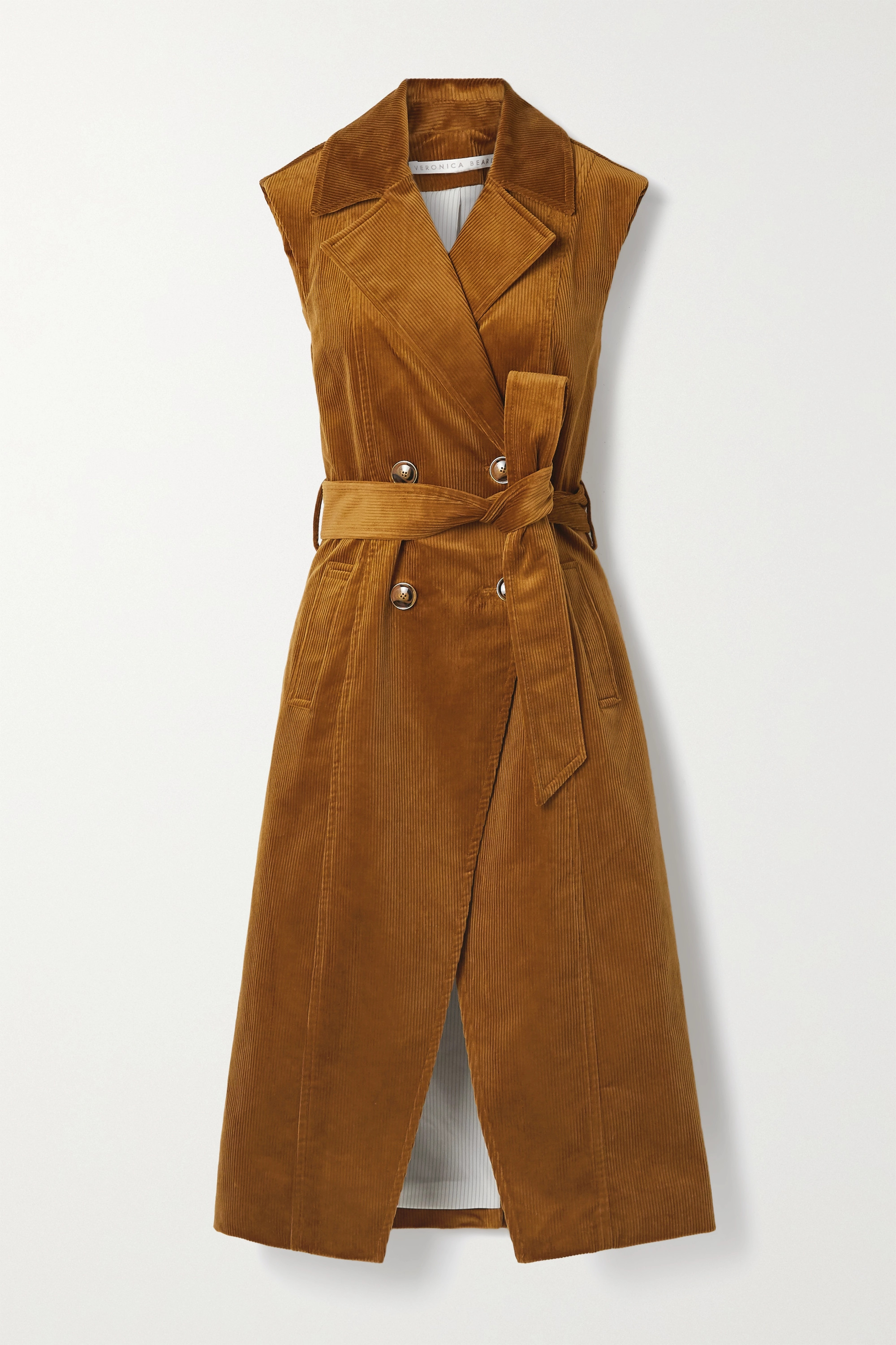Veronica Beard Fayette belted double-breasted cotton-blend corduroy vest