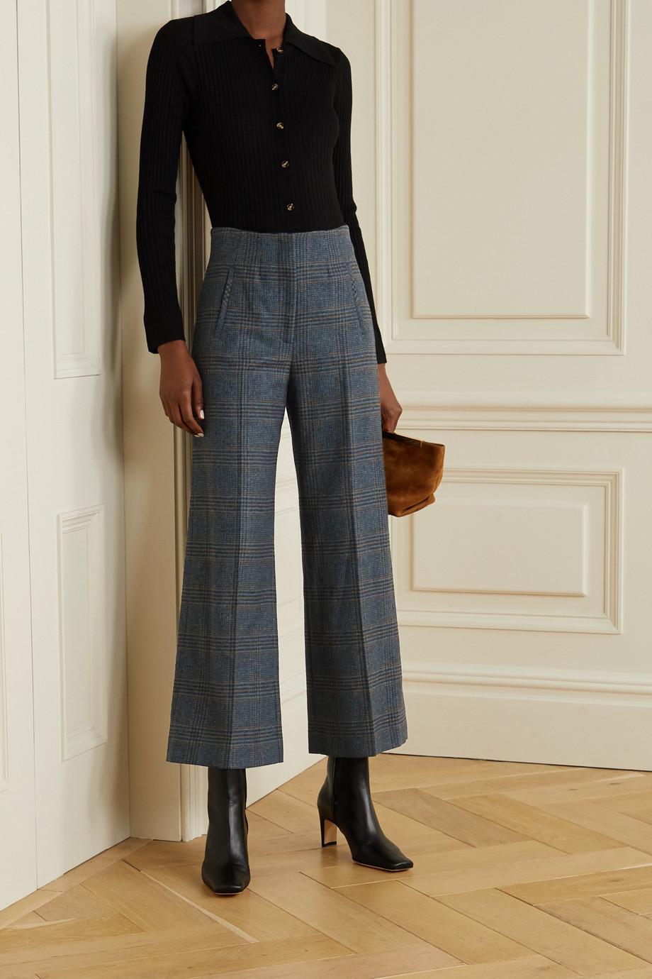 Veronica Beard Dova Prince of Wales checked wool straight-leg pants