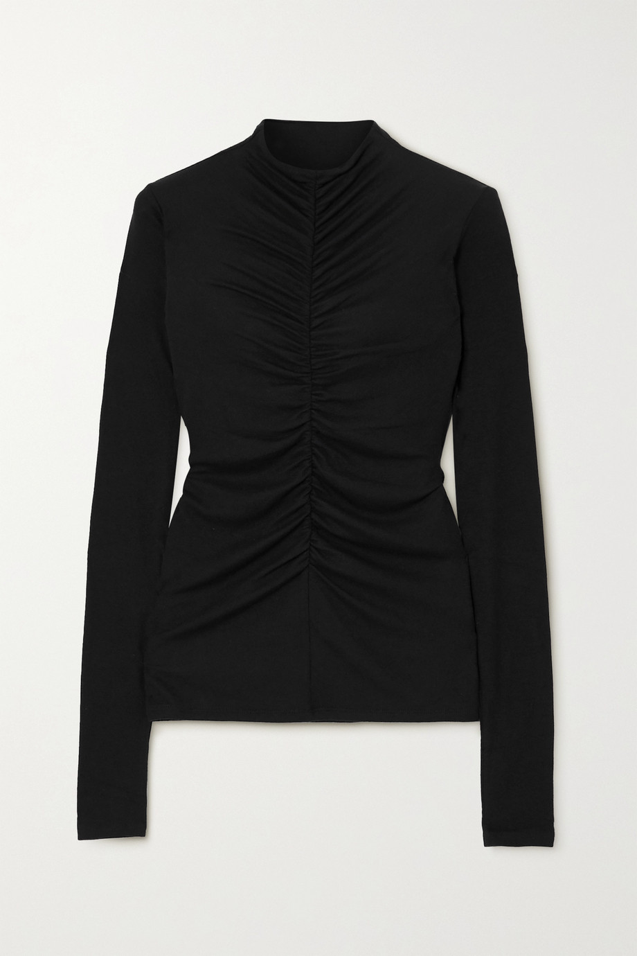 Veronica Beard Theresa ruched ribbed stretch-modal turtleneck top