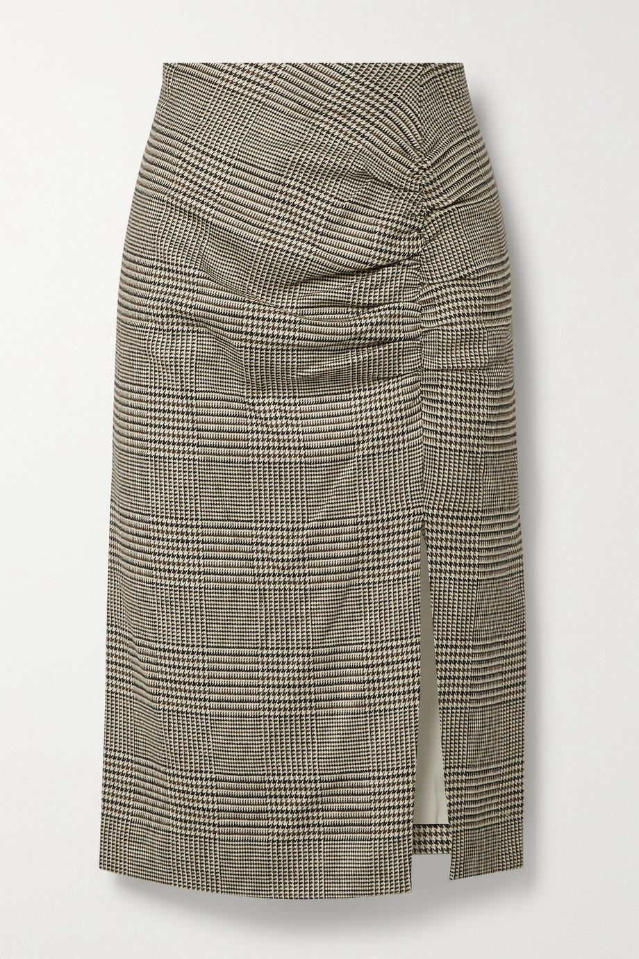 Veronica Beard Tamic ruched checked woven midi skirt