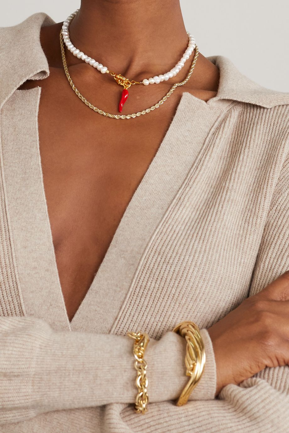 Timeless Pearly Gold-tone, pearl and enamel necklace