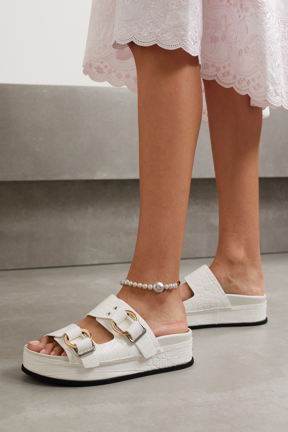 Timeless Pearly Gold-tone pearl anklet