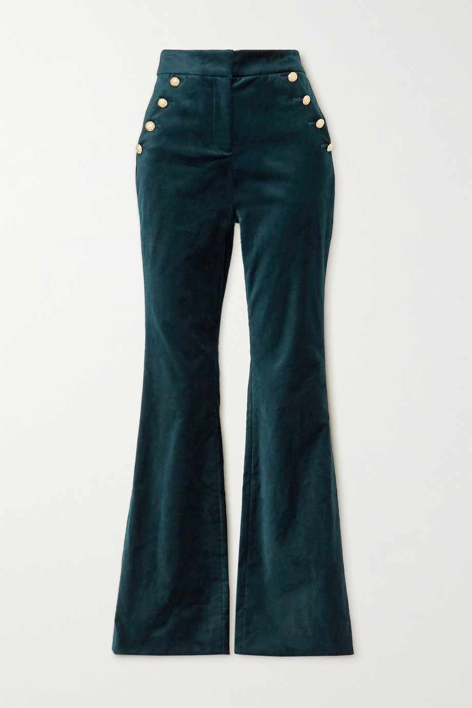 Veronica Beard Verity button-embellished cotton-blend velvet flared pants