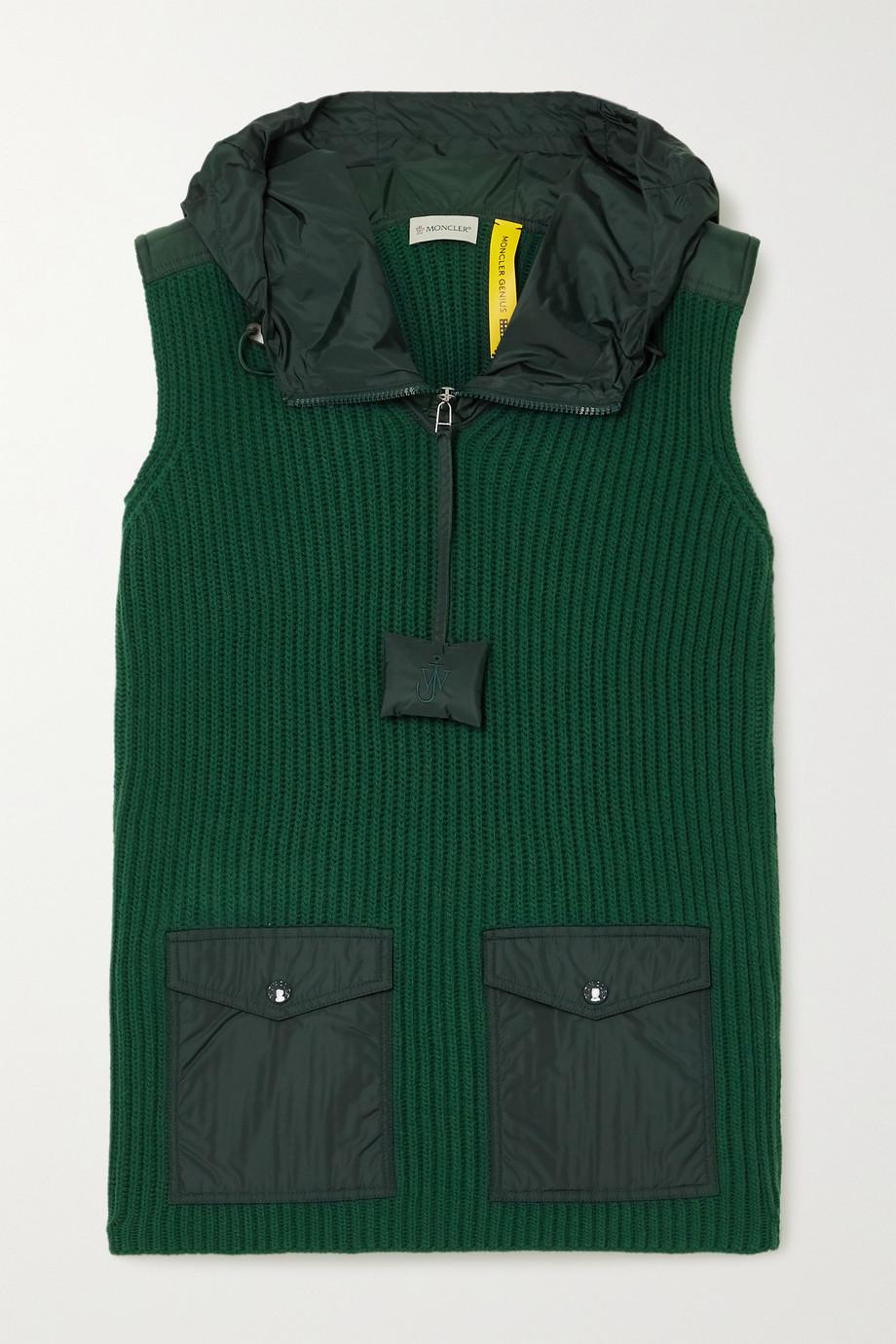Moncler Genius x 1 JW Anderson 软壳面料边饰罗纹羊毛连帽背心