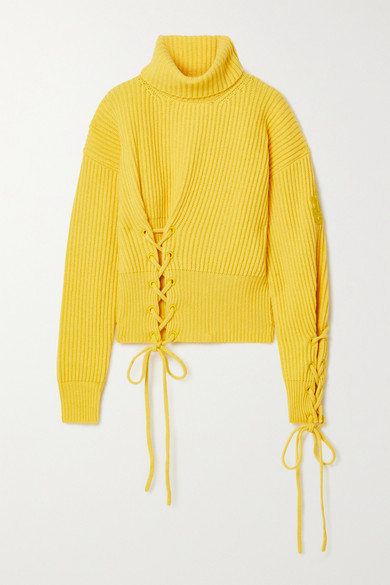 Moncler Genius Wools 1 JW ANDERSON LACE-UP RIBBED WOOL AND CASHMERE-BLEND TURTLENECK SWEATER