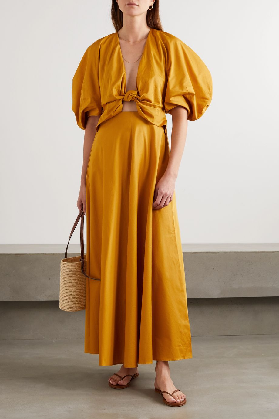 Mara Hoffman + NET SUSTAIN Leila knotted organic cotton-poplin maxi dress