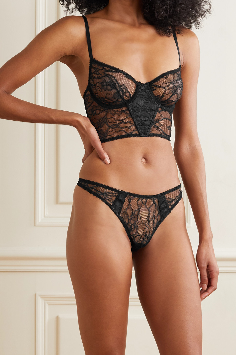 unknown Nuit corded lace and mesh thong