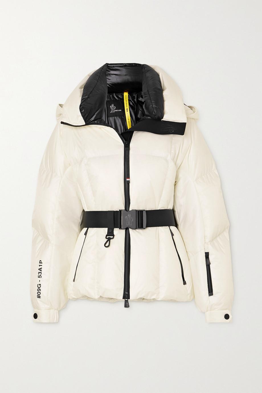 Moncler Genius Grossaix gesteppte Skijacke mit Daunenfüllung, Gürtel und Print