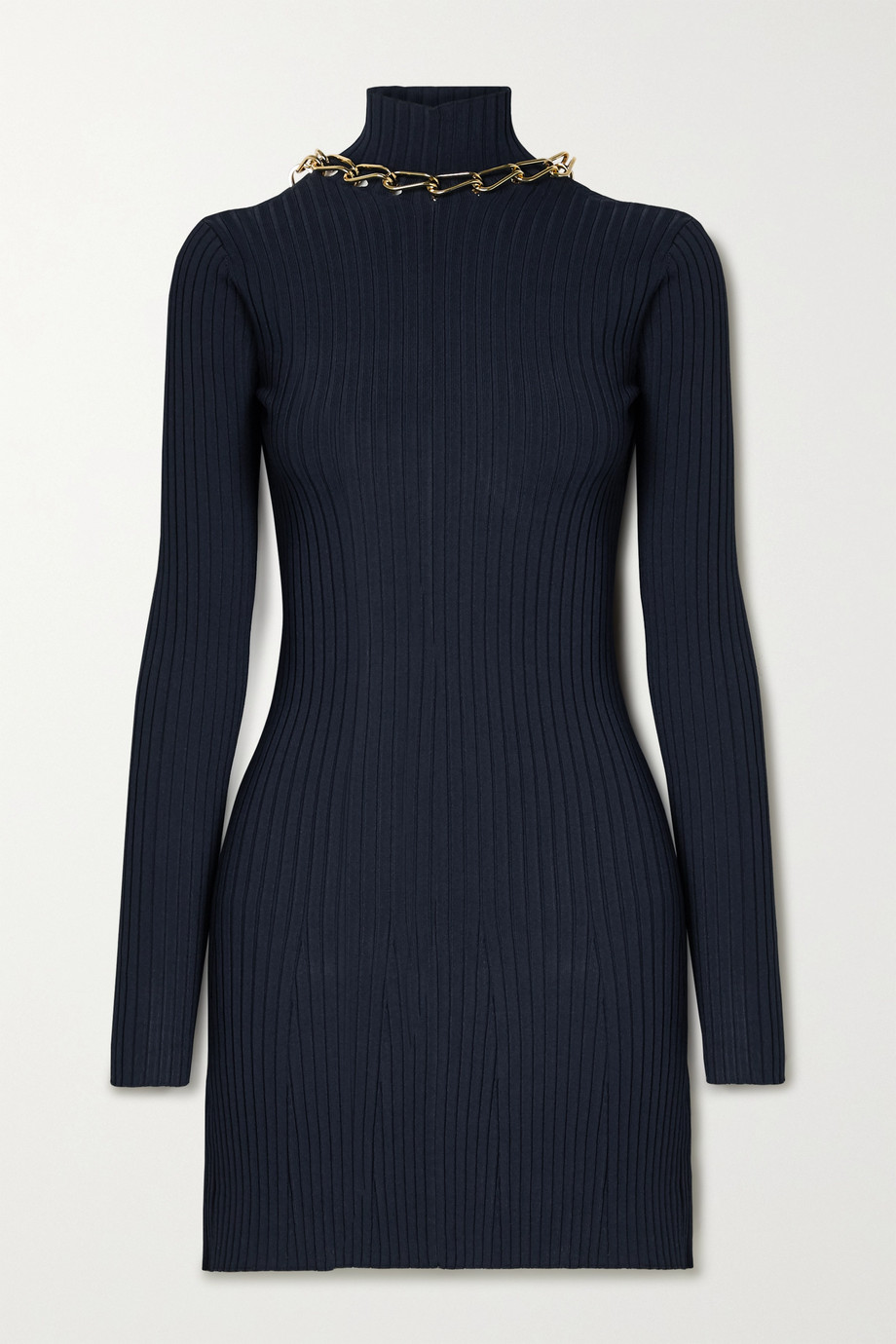 Dion Lee Chain-embellished open-back ribbed-knit mini dress