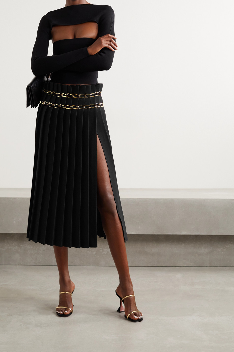 Dion Lee Chain-embellished pleated crepe midi skirt