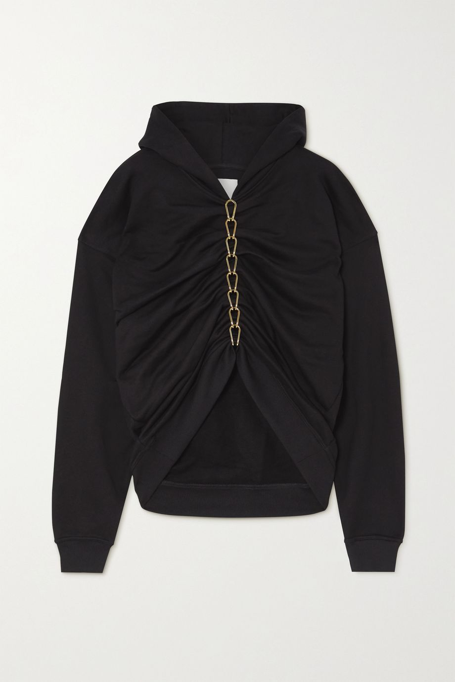 Dion Lee Chain-embellished ruched cotton-jersey hoodie