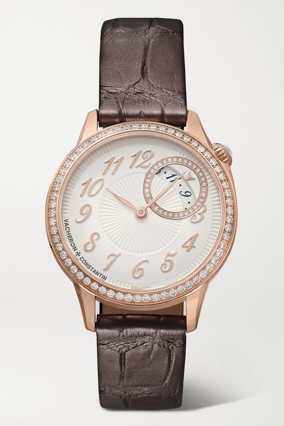 Vacheron Constantin Égérie 30mm 18-karat pink gold, alligator and diamond watch