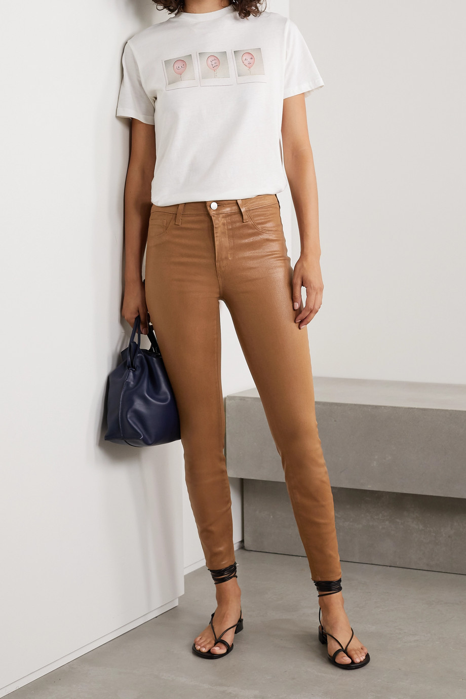 L'Agence Margot coated high-rise skinny jeans