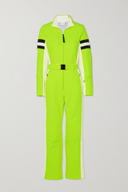 Bogner Cat belted striped neon stretch-ponte ski suit
