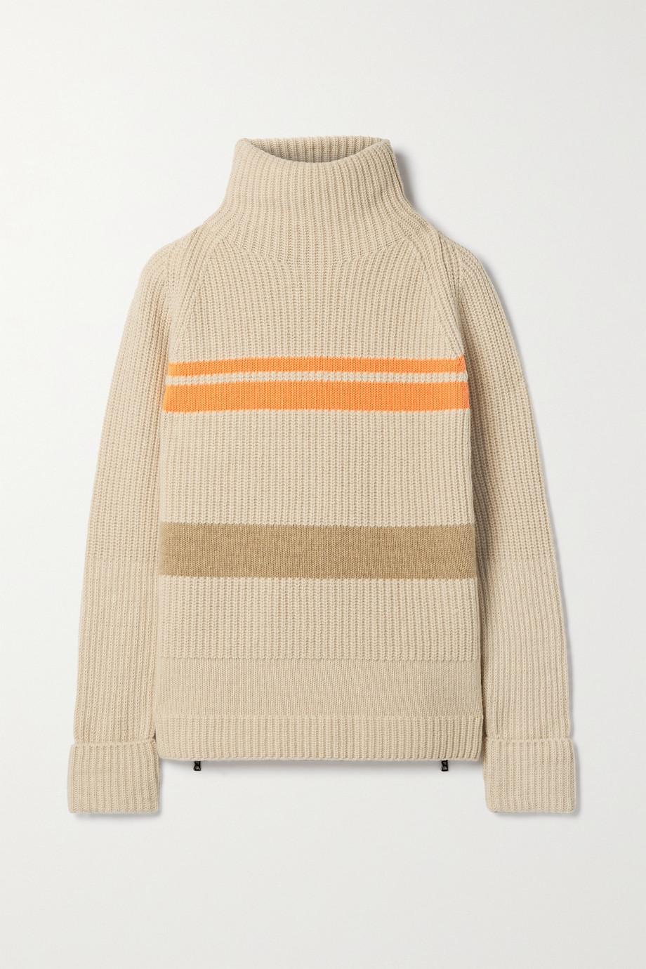 Bogner Adelia gestreifter Pullover aus einer gerippten Wollmischung mit Stehkragen