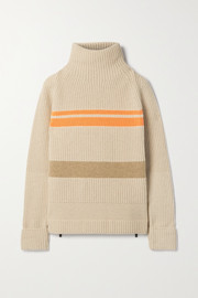 Bogner Adelia striped ribbed wool-blend turtleneck sweater