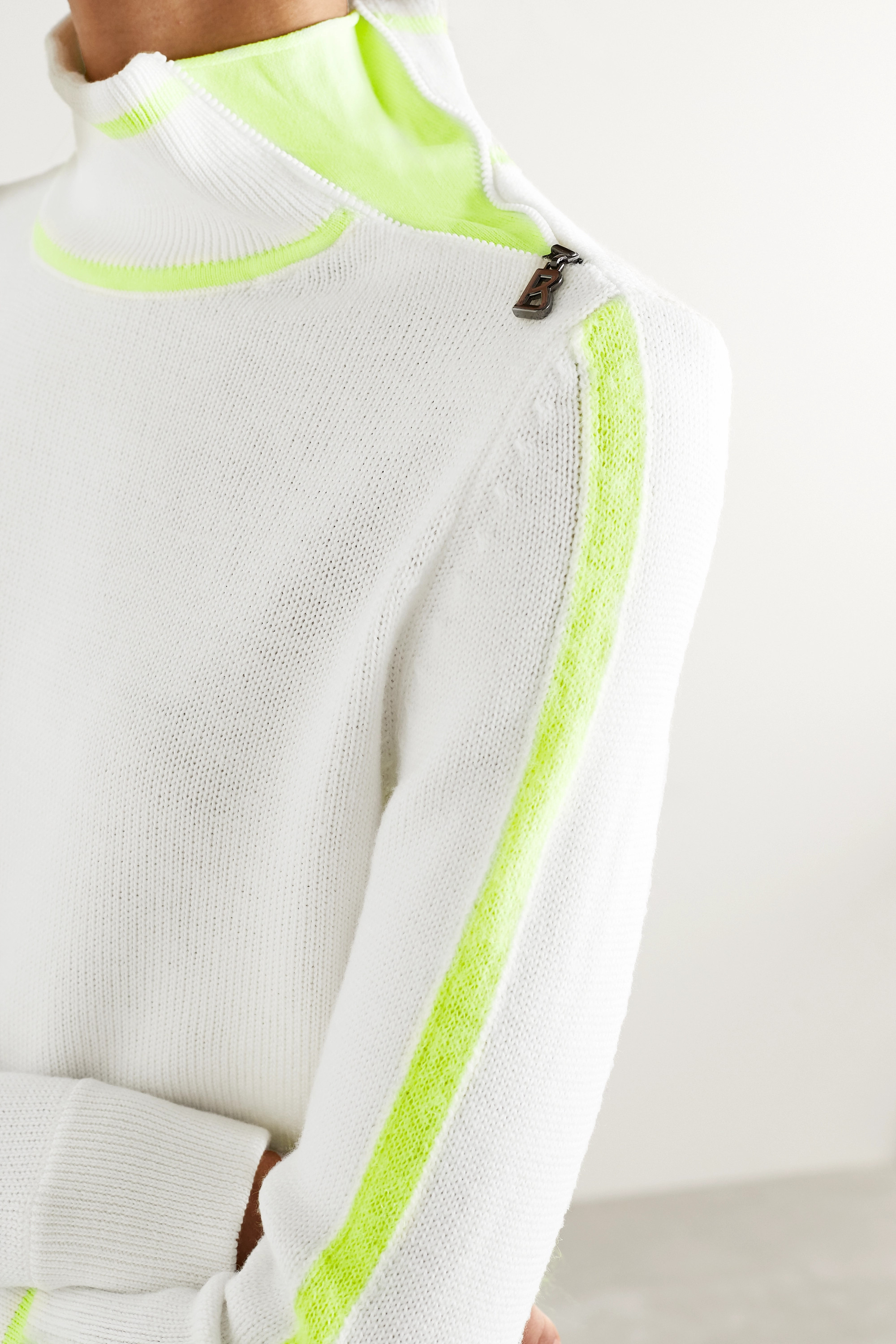 Bogner Xila embossed mohair-blend and wool turtleneck sweater