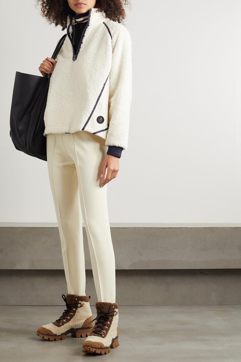 Bogner Noara appliquéd faux shearling and stretch-jersey sweatshirt