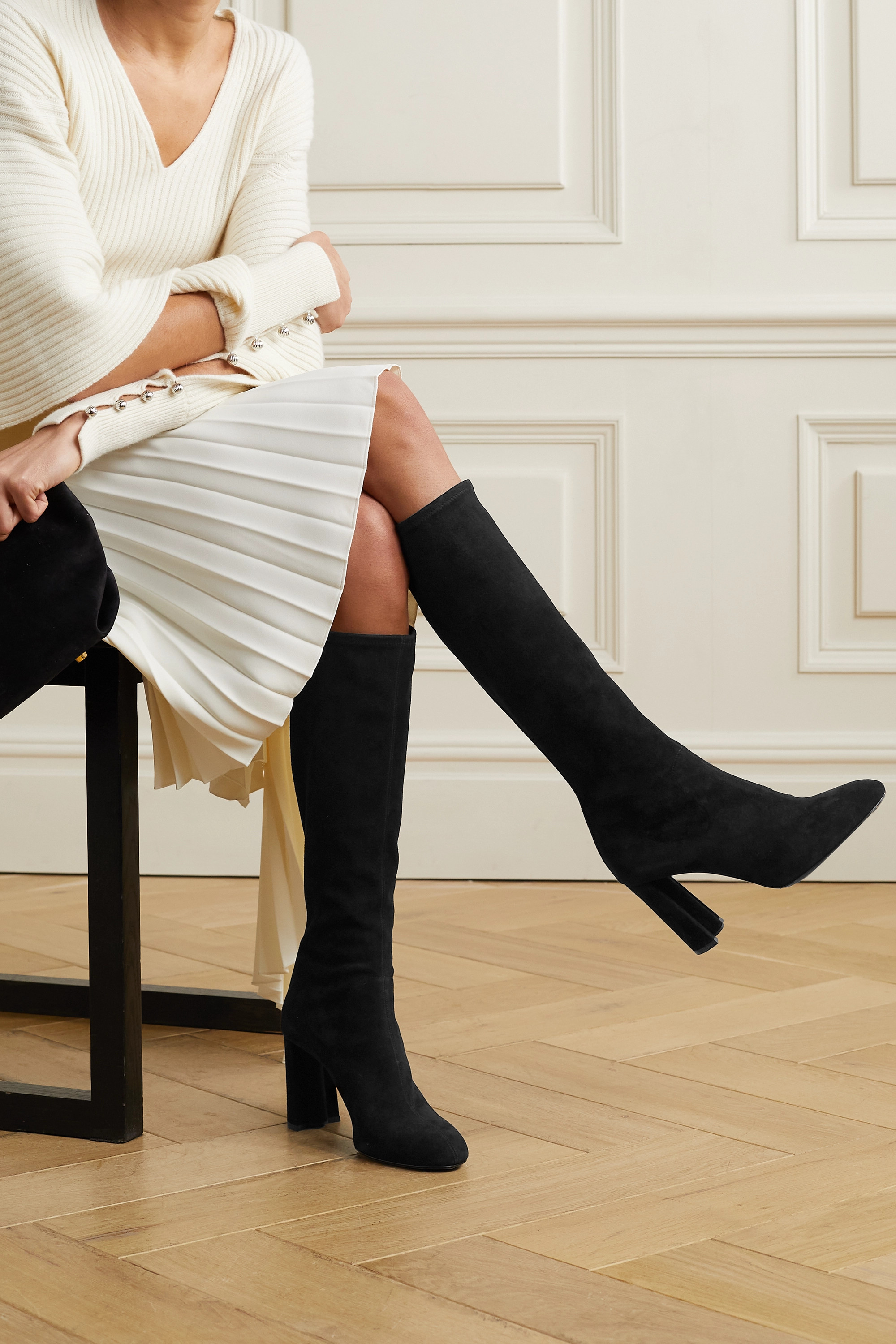 Co Stretch-suede knee boots