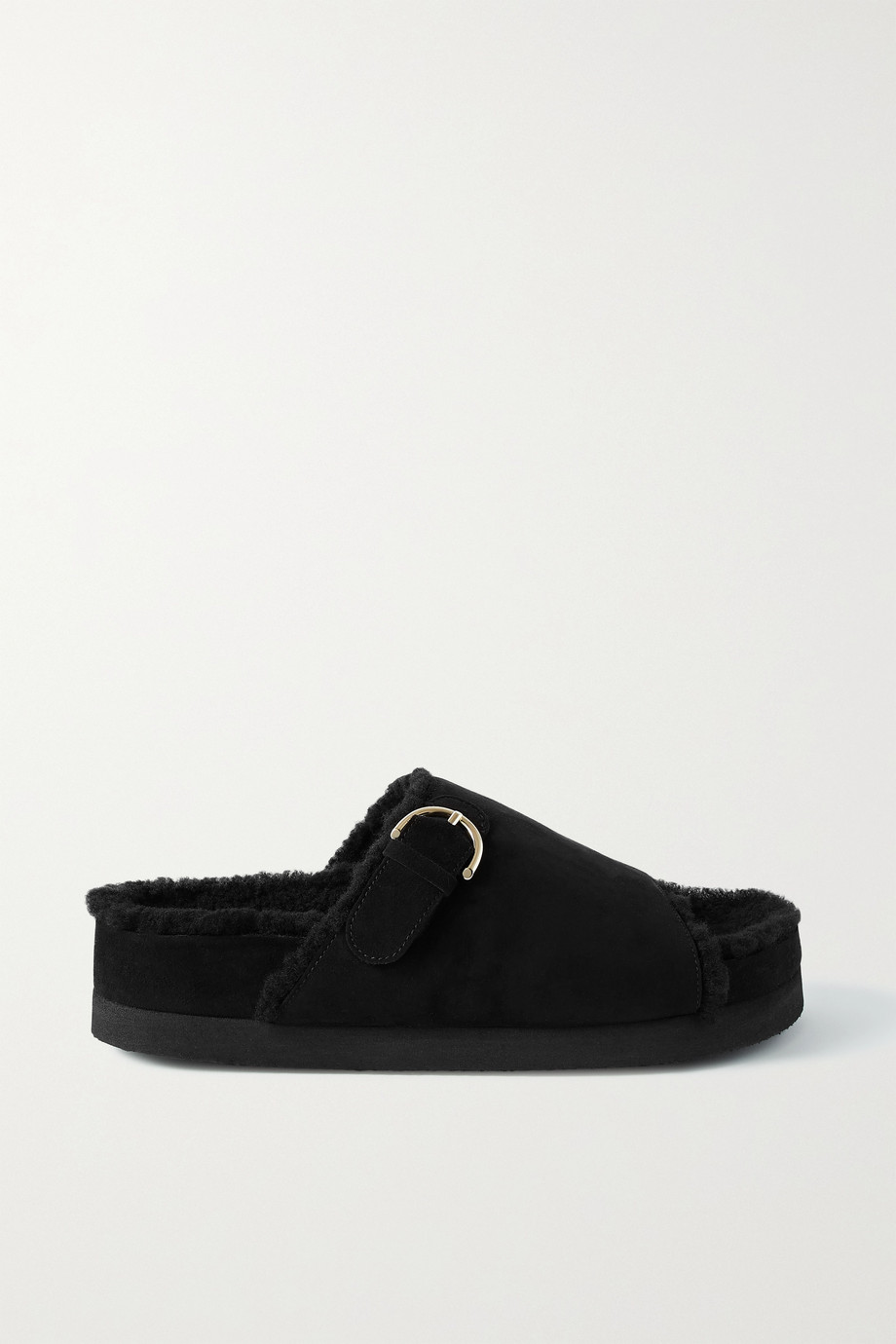 Co Buckled shearling-lined suede platform slides