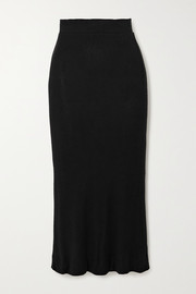 LESET Lori brushed stretch-jersey midi skirt