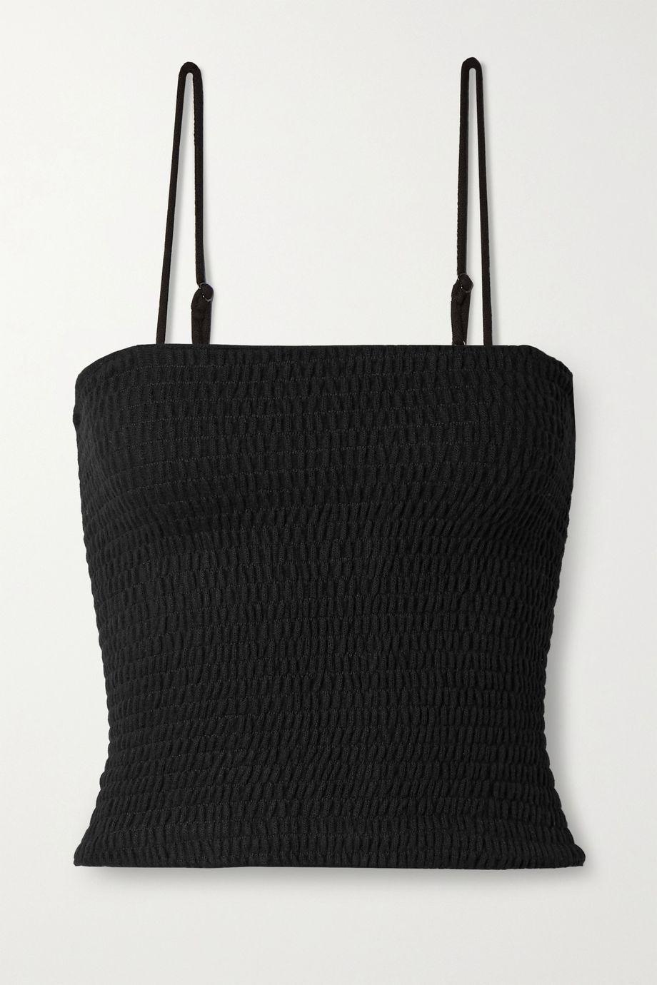 LESET Lori shirred stretch-knit tank