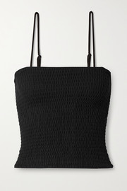LESET Lori shirred stretch-knit tank