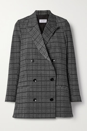 LESET Stili double-breasted Prince of Wales checked woven blazer