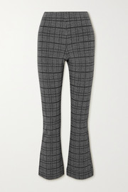 LESET Stili cropped Princes of Wales checked woven flared pants