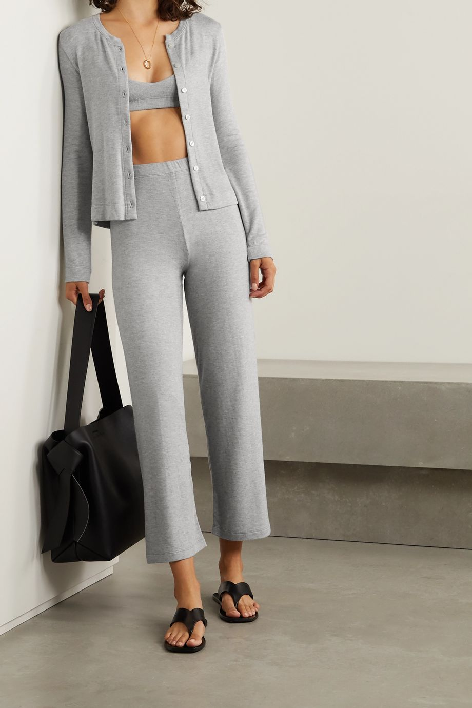 LESET Lori brushed stretch-jersey cardigan and bralette set