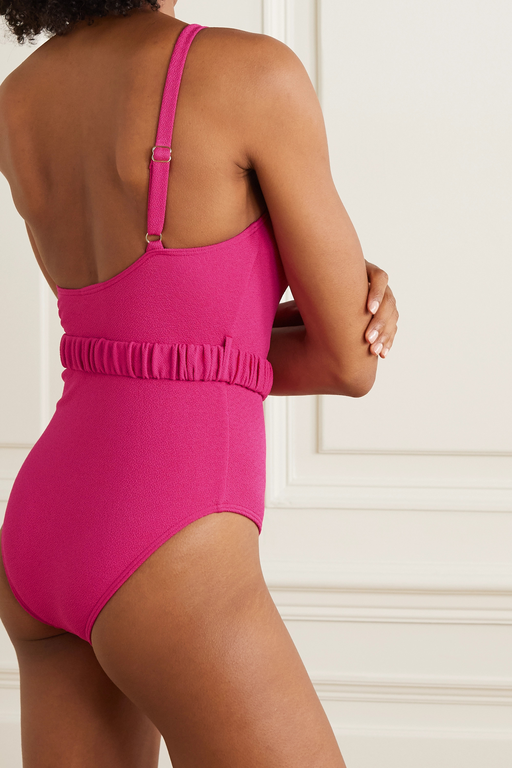 Peony + NET SUSTAIN one-shoulder belted crepe swimsuit