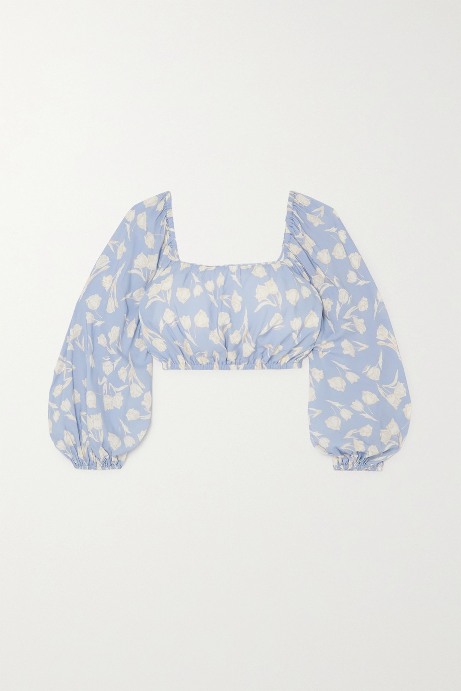 Peony + NET SUSTAIN cropped floral-print woven top
