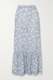 Peony + NET SUSTAIN tiered floral-print woven maxi skirt
