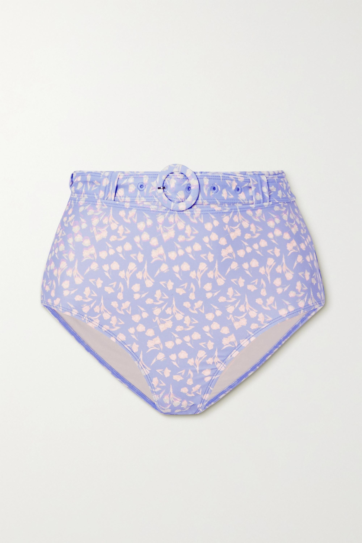 Peony + NET SUSTAIN belted floral-print bikini briefs
