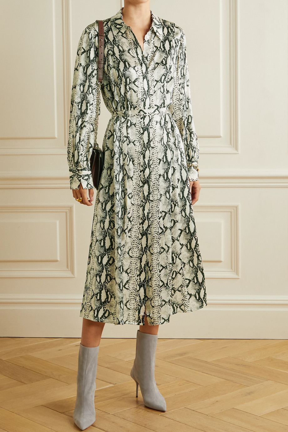 Jason Wu Belted snake-print silk-satin midi shirt dress