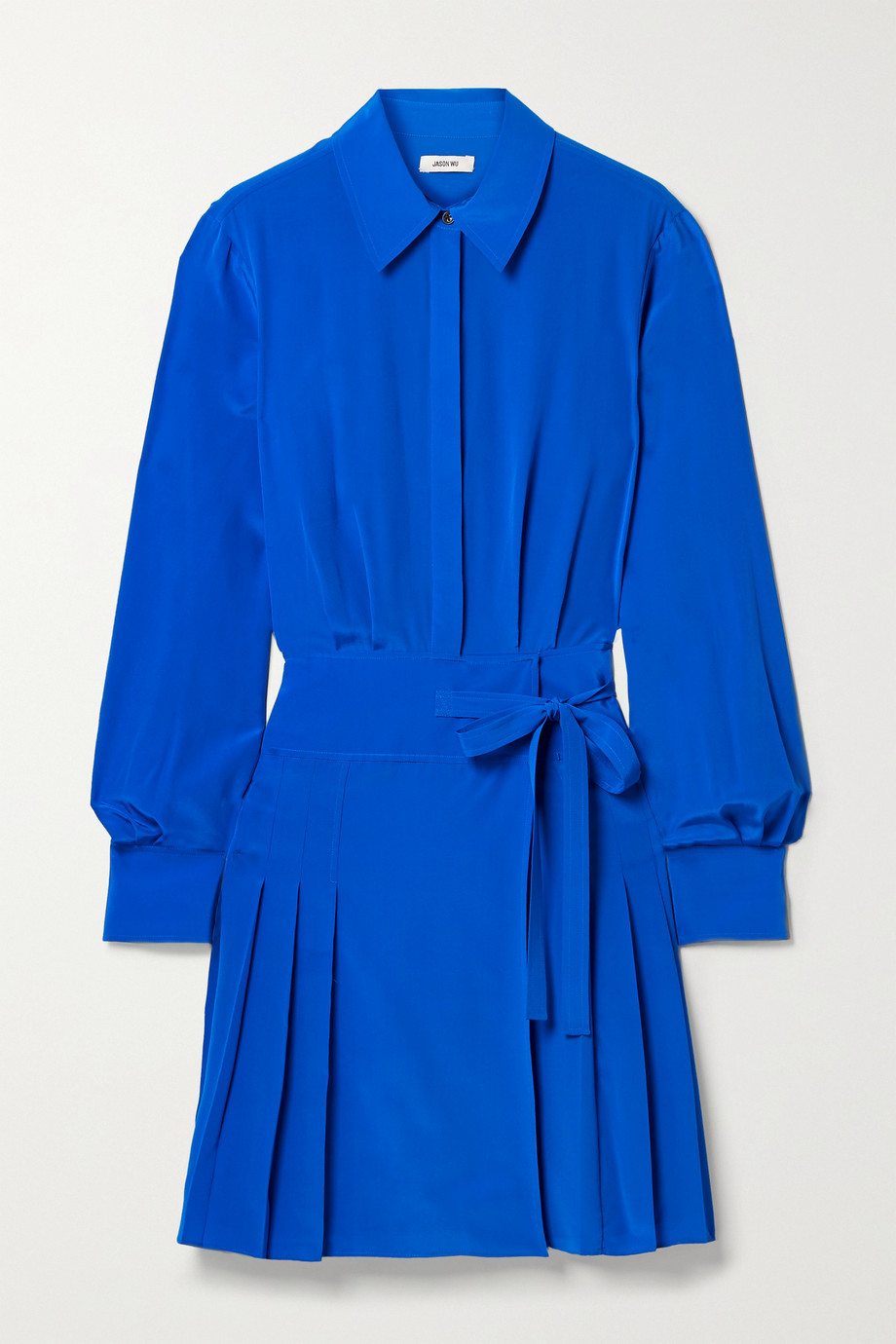 Jason Wu Pleated silk crepe de chine mini shirt dress