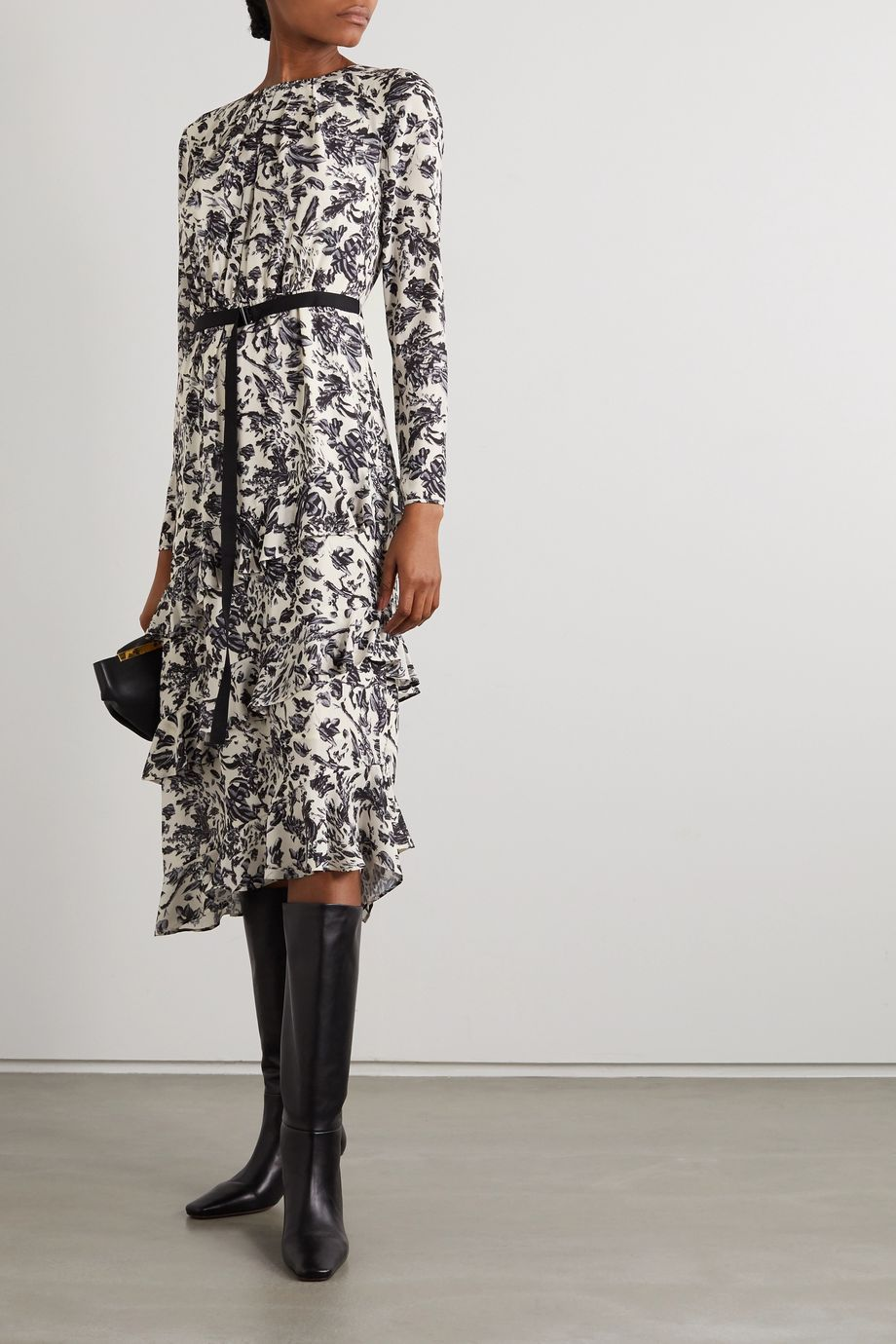 Jason Wu Belted ruffled floral-print crepe de chine midi dress