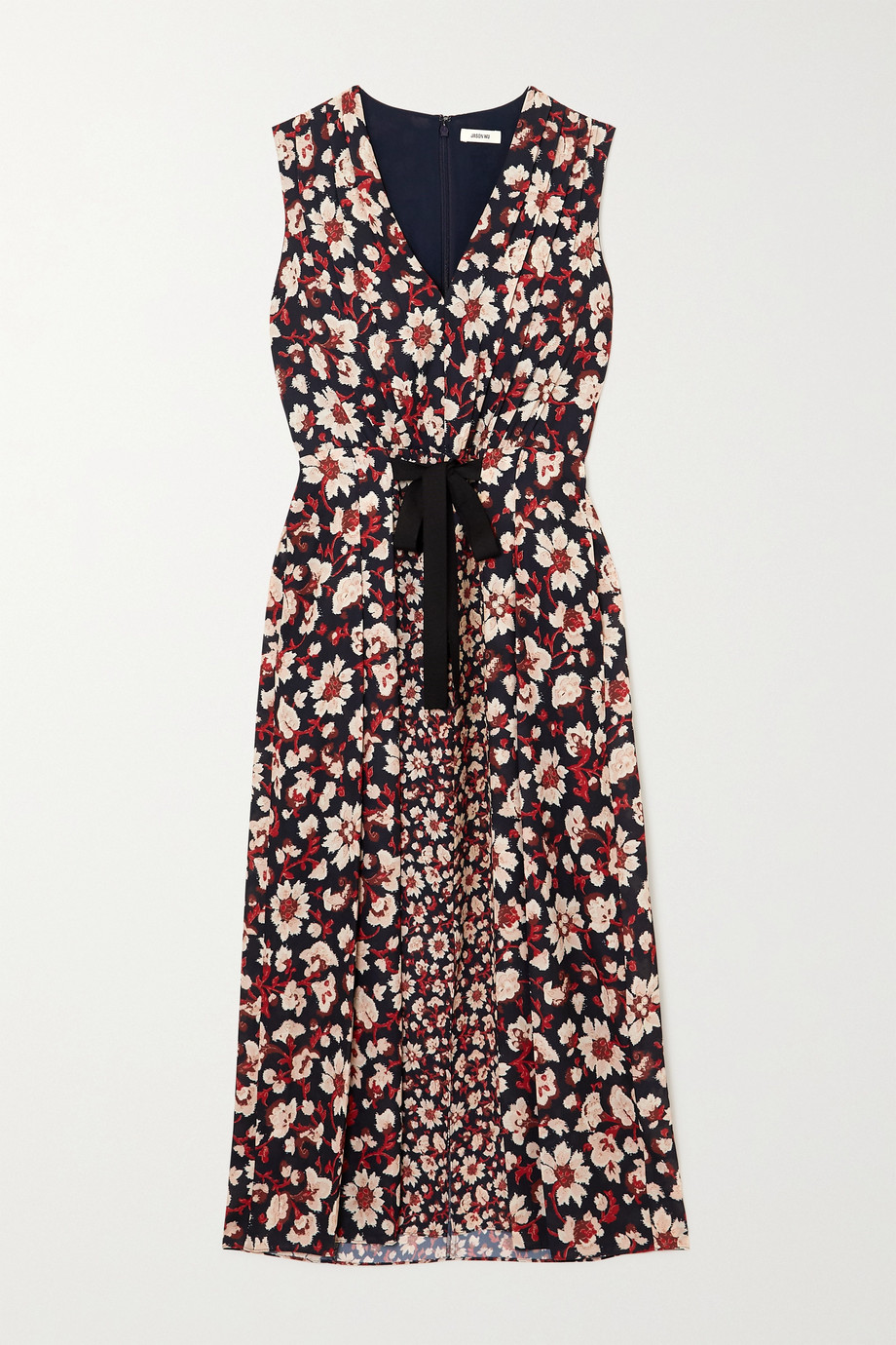 Jason Wu Tie-detailed pleated floral-print crepe de chine midi dress