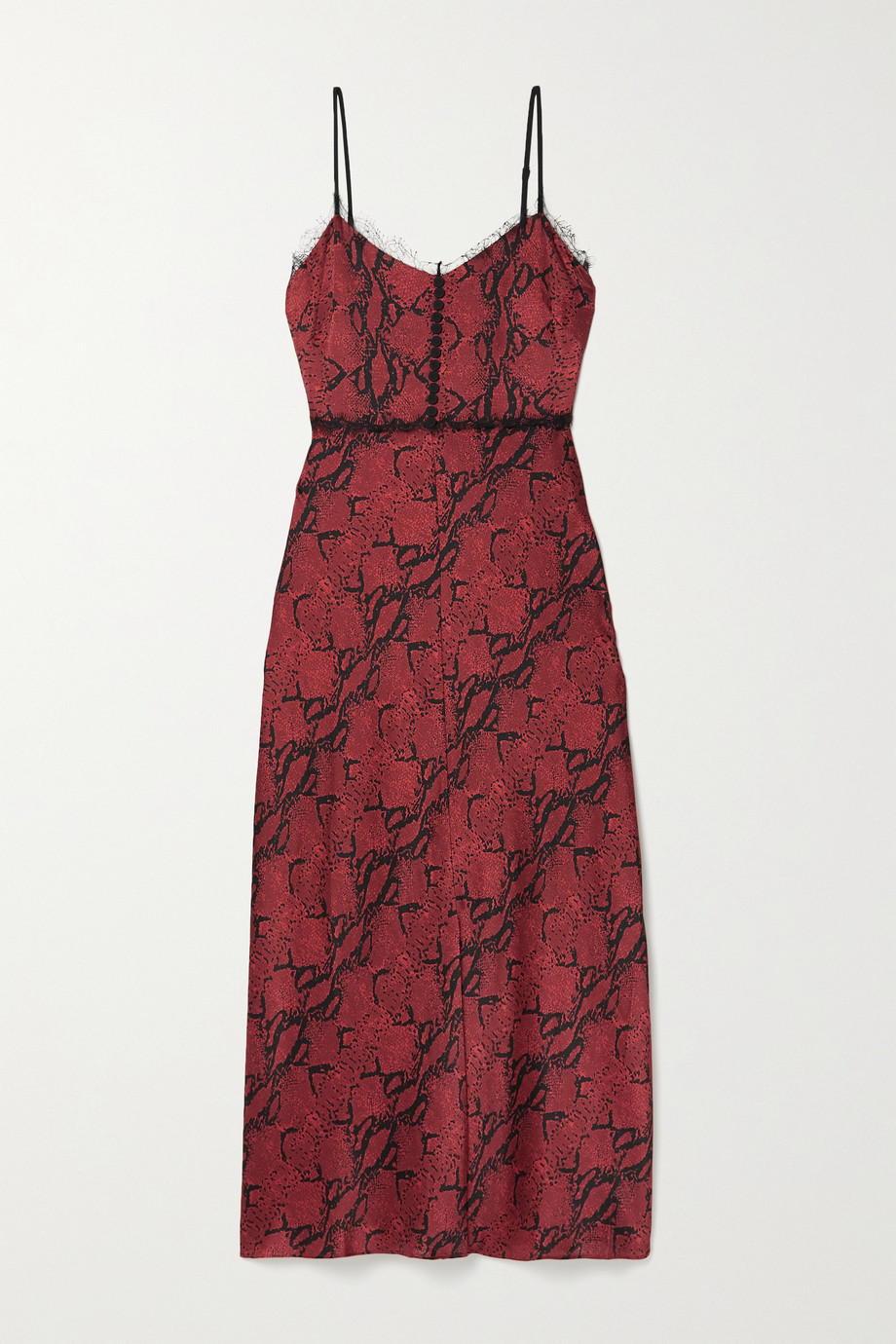 Jason Wu Lace-trimmed snake-print silk-crepe midi dress