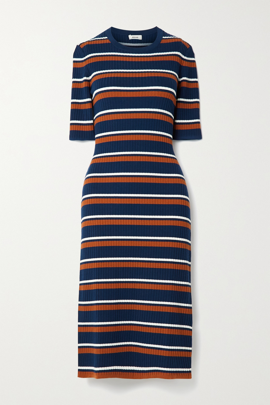 Jason Wu Striped ribbed wool-blend midi dress