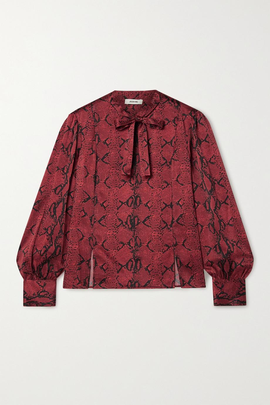 Jason Wu Pussy-bow snake-print silk-crepe blouse