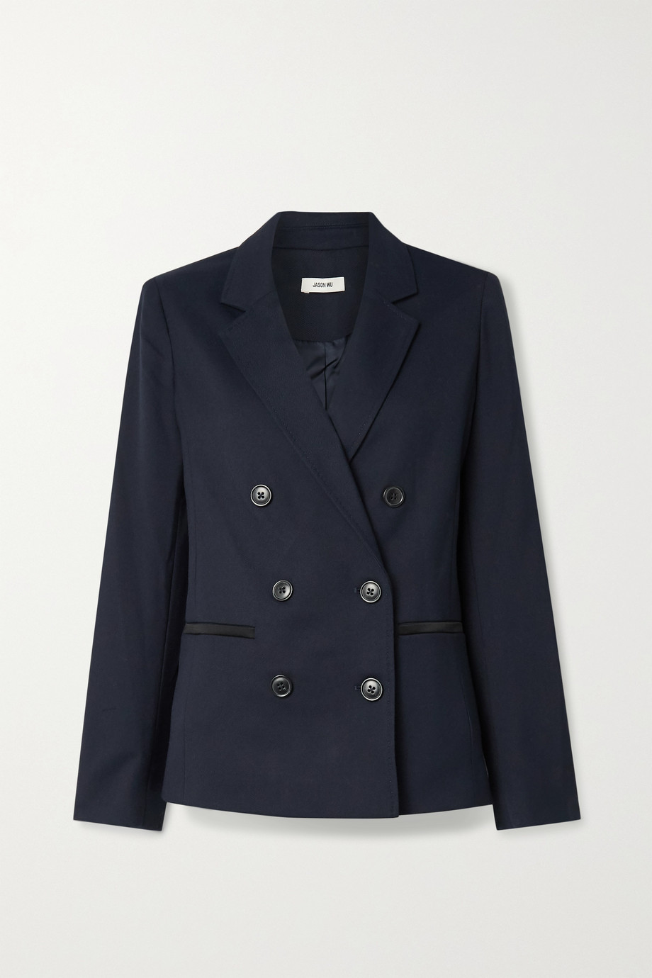Jason Wu Double-breasted satin-trimmed twill blazer
