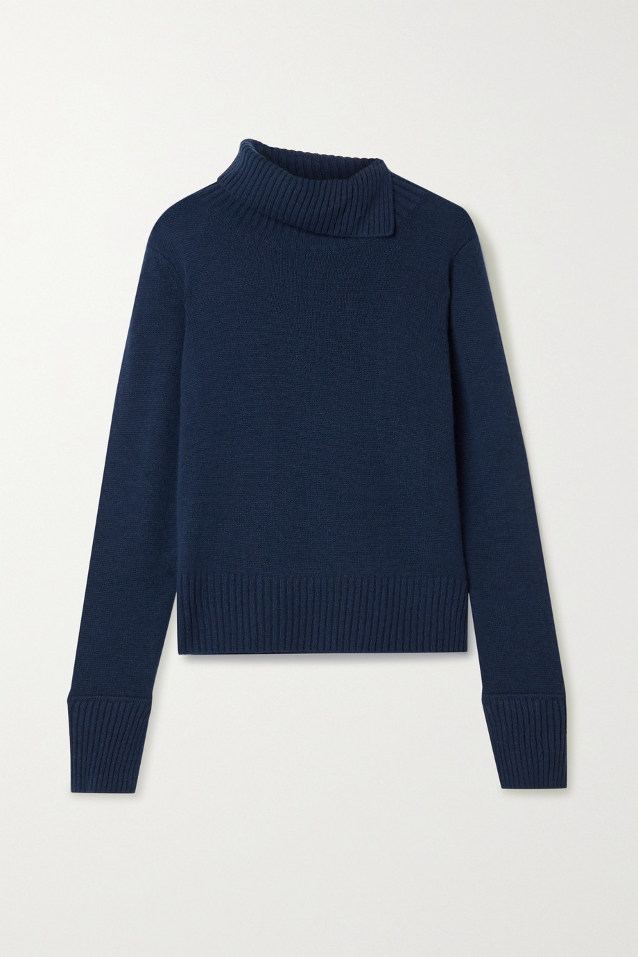 Jason Wu Pleated satin-trimmed cashmere turtleneck sweater