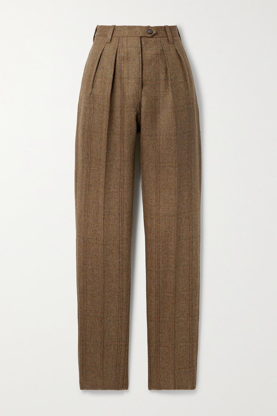 Giuliva Heritage + NET SUSTAIN The Husband Hose mit schmalem Bein aus karierter Wolle mit Fischgratmuster