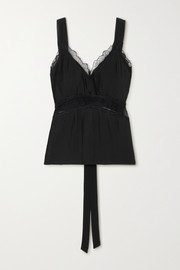 Sleeping with Jacques The Osiris lace-trimmed plissé-silk crepe de chine camisole