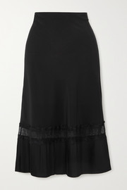Sleeping with Jacques The Osiris lace-trimmed plissé silk crepe de chine skirt