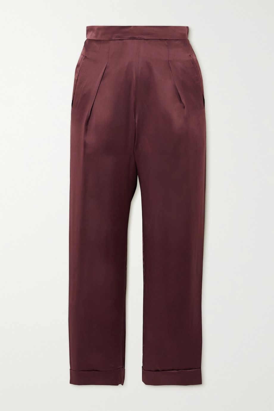 Sleeping with Jacques The Lenny pleated silk-satin pants